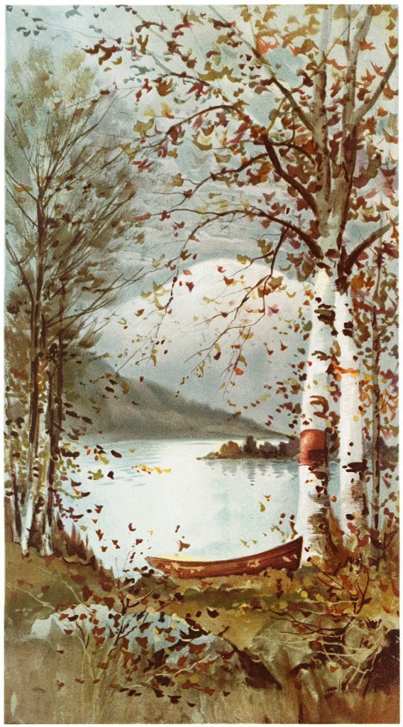 Fall trees dropping leaves by a lake. Image Credit: The Graphics Fairy